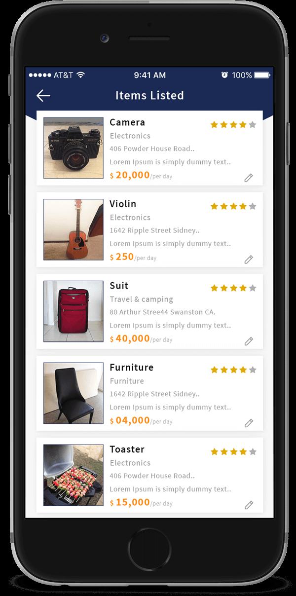 items listing